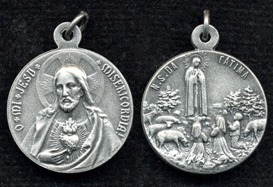 sacred heart and our lady of fatima medal