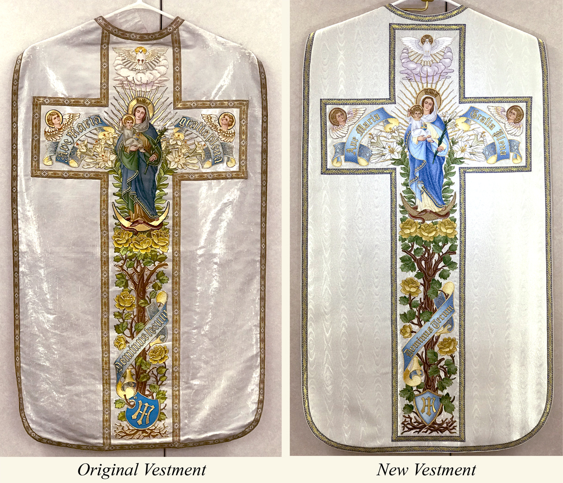 Immaculate conception vestment, blessed mother vestment, roman vestment, embroidered vestment